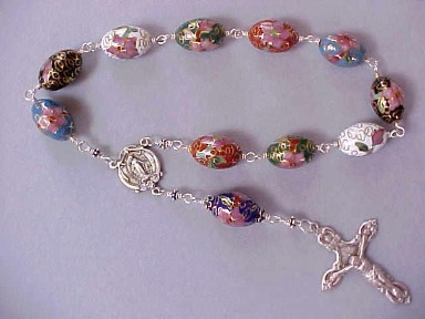 handmade Easter chaplets with cloisonné egg beads, wire wrapped in sterling silver with sterling silver crucifix and center