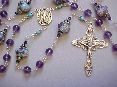 handmade sterling silver wire wrapped rosary with A grade Amethyst and Grace Lampwork