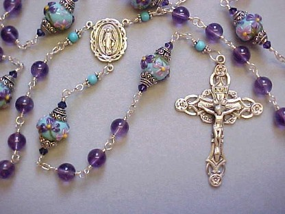 handmade sterling wire wrapped rosary with Amethyst and Grace Lampwork beads