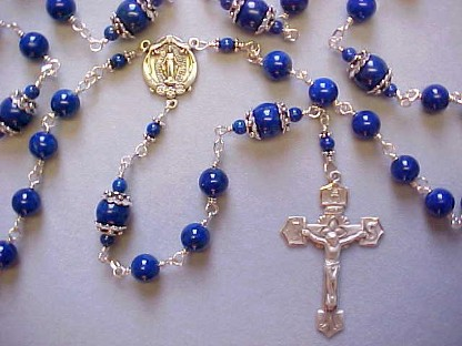 lapis lazuli rosary with all sterling wire wrapped construction