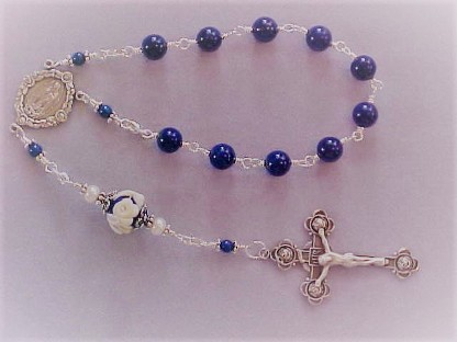 sterling silver wire wrapped 1 decade rosary with lapis lazuli and cameo rose