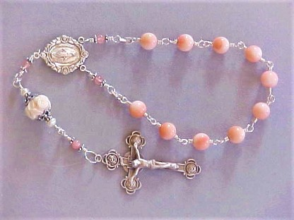 Handmade sterling silver wire wrapped single decade rosary with angelskin coral and rose cameo