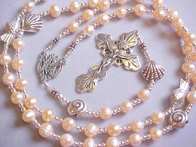 handmade freshwater pearl rosary with fish and shell beads