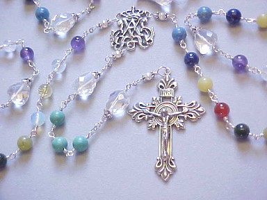 handmade wire wrapped family heirloom rosary with genuine gemstone birthstone beads