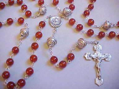 handmade confirmation rosary with carnelian gemstone beads