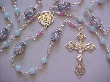 Semiprecious Amazonite gemstone rosary with floral glass beads, all sterling silver construction, crucifix and medal