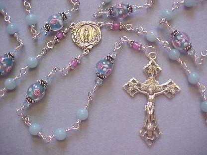 sterling silver wire wrapped rosary with amazonite and floral lampworked glass