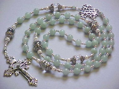 handmade sterling silver rosary with genuine green aventurine gemstones