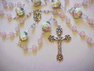 Rose Quartz gemstone rosary with floral hand decorated glass with roses and daisies, sterling silver crucifix, center, all sterling wire wrapped construction