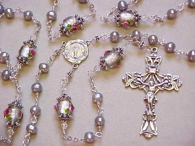 sterling silver wire wrapped rosary with silver freshwater pearls, lampworked glass and deluxe sterling silver crucifix and center