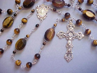 Sterling wire wrapped tiger eye gemstone rosary with large oval our Fathers, all sterling silver wire wrapped construction, sterling crucifix and center