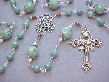 handmade sterling silver turquoise rosary with hand cast crucifix and center