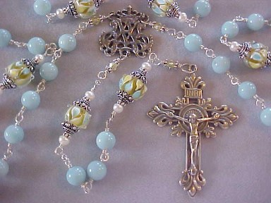 handmade sterling silver wire wrapped rosary with amazonite gemstone, lampwork glass drums and hand cast crucifix and center