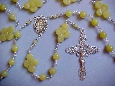 sterling wire wrapped Peridot jade rosary