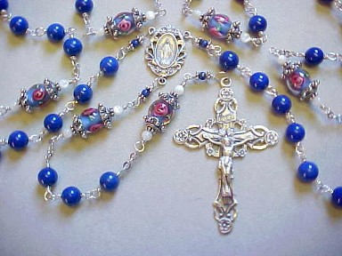 Sterling Silver wire wrapped Lapis Lazuli and floral glass rosary